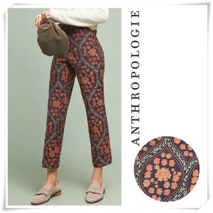 Anthropologie essential Slim Floral Jacquard Pants